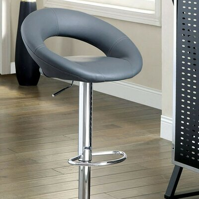 Mayr Adjustable Height Swivel Bar Stool Upholstery: Gray