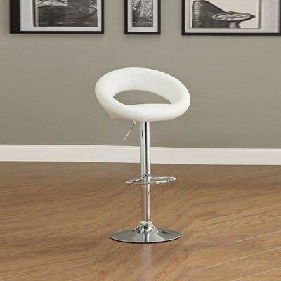 Mayr Adjustable Height Swivel Bar Stool Upholstery: White