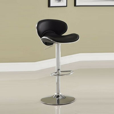 Kalicki Adjustable Height Swivel Bar Stool Upholstery: Black