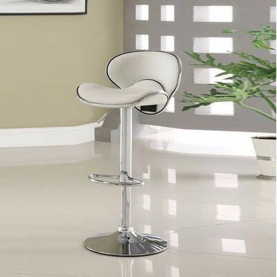 Kalicki Adjustable Height Swivel Bar Stool Upholstery: White