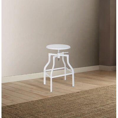 Mckillip Adjustable Height Swivel Bar Stool Color: White