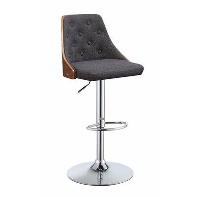 Camden Astonishing Adjustable Height Swivel Bar Stool Upholstery: Gray