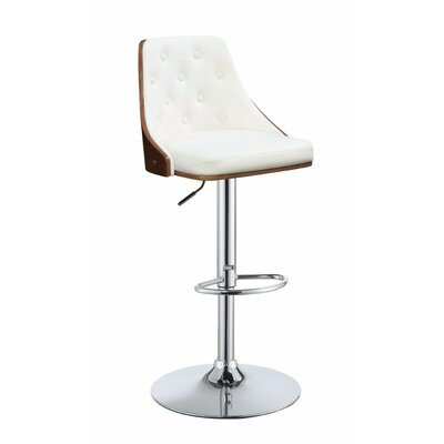 Camden Astonishing Adjustable Height Swivel Bar Stool Upholstery: White