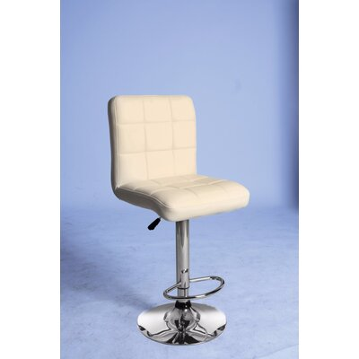 Roznin Adjustable Height Swivel Bar Stool Upholstery: Cream