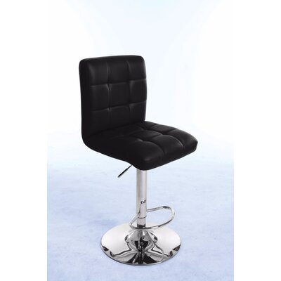 Roznin Adjustable Height Swivel Bar Stool Upholstery: Black