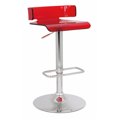Emre Smart Looking Adjustable Height Swivel Bar Stool Color: Red
