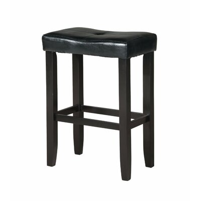 Kingston Seymour Wooden 24 Bar Stool Upholstery: Black