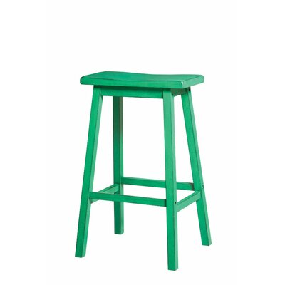 Snowden Wooden 29 Bar Stool Color: Green