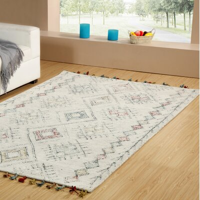 Dundridge Hand-Tufted 100% Wool Gray/Red Area Rug Rug Size: Rectangle 3 x 5