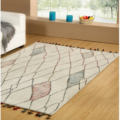 Dundridge Hand-Tufted 100% Wool Ivory/Red Area Rug Rug Size: Rectangle 5 x 8