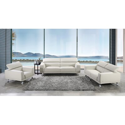 Penny 3 Piece Living Room Set Color: White