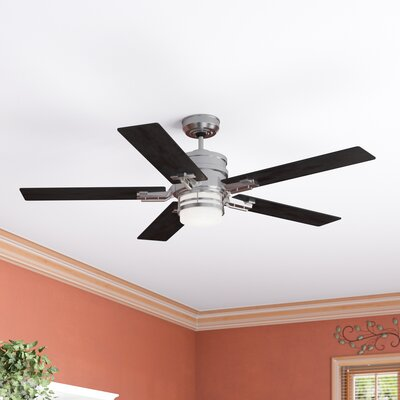 54 Lattimore Transitional Amhurst 5 Blade LED Ceiling Fan Finish: Brushed Steel with Dark Cherry Blades