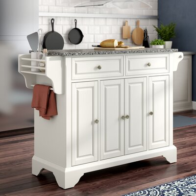 Abbate Kitchen Island with Granite Top Base Finish: White