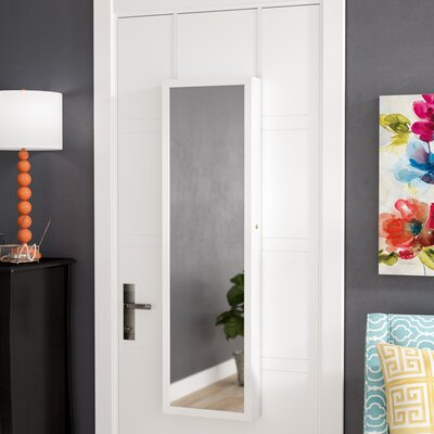 Bulgera Combination and Makeup Storage Wall Mounted or Over the Door Jewelry Armoire Color: White