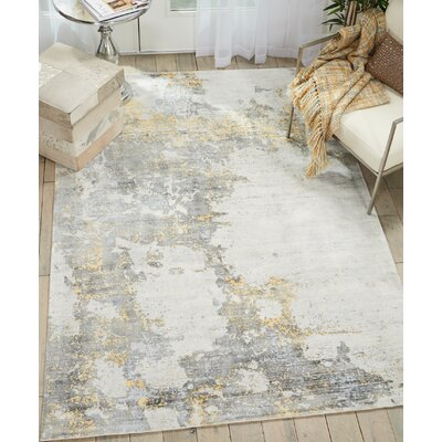 Mcgill Modern Abstract Hand-Woven Ivory/Gold Area Rug Rug Size: Rectangle 53 x 75