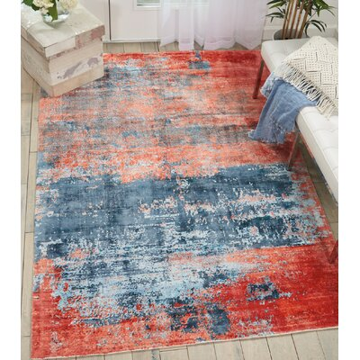 Mcgill Modern Abstract Hand-Woven Blue/Brick Red Area Rug Rug Size: Rectangle 53 x 75