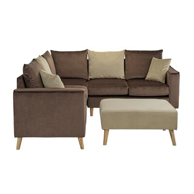 Gayden Sectional with Ottoman Upholstery: Valvet Brown