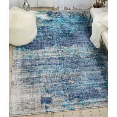 Mcgill Modern Abstract Hand-Woven Teal Blue Area Rug Rug Size: Rectangle 9' x 12'