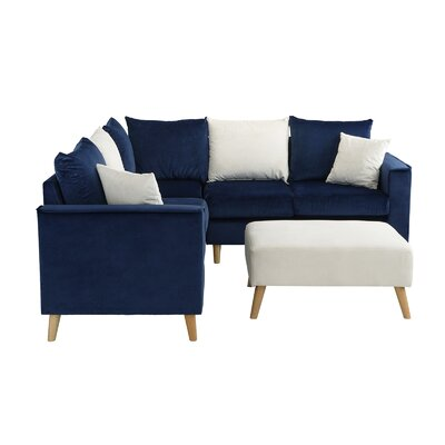 Gayden Sectional with Ottoman Upholstery: Valvet Navy