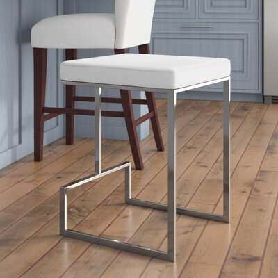 Wirrian 24 Bar Stool Upholstery: White
