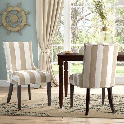 Gowanus Dining Chair Upholstery: Olive / White Stripe