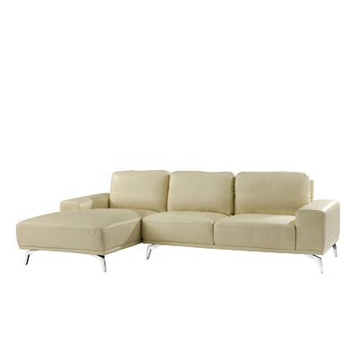Modern Leather Sectional Upholstery: Beige, Orientation: Right Hand Facing
