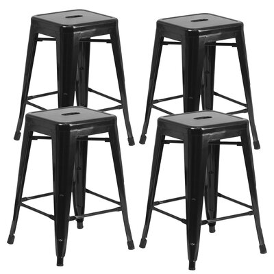 Farwell Backless 24 Bar Stool Color: Black