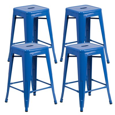 Farwell Backless 24 Bar Stool Color: Blue