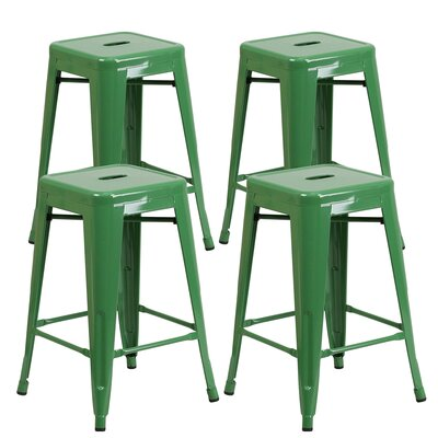 Farwell Backless 24 Bar Stool Color: Green