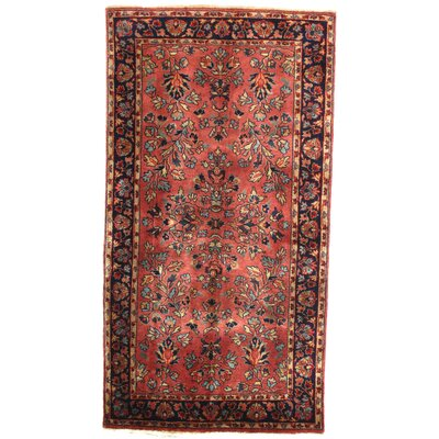 Sarouk Design Hand-Knotted Wool Rose Area Rug