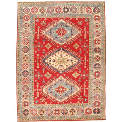 Kazak Design Hand-Knotted Wool Beige Area Rug