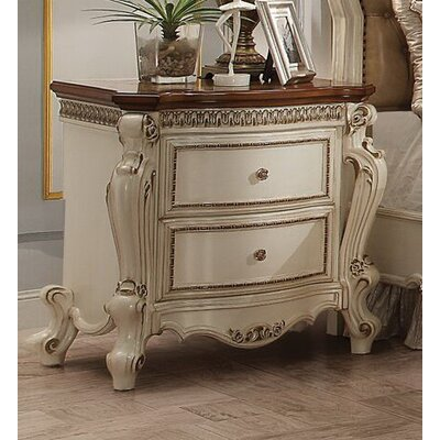 Cowart 2 Drawer Nightstand Color: Antique Pearl/Brown