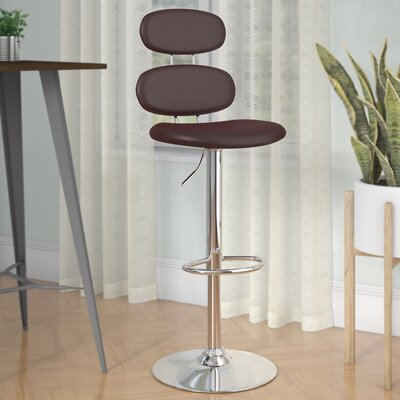 Norberg Adjustable Height Swivel Bar Stool Upholstery: Brown