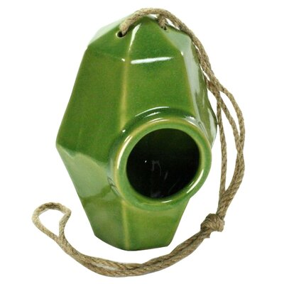 Perch Ceramic 8 in x 5.5 in x 5.5 in Birdhouse Color: Green