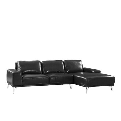 Modern Leather Sectional Upholstery: Black, Orientation: Right Hand Facing