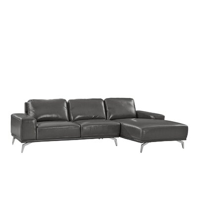 Modern Leather Sectional Upholstery: Dark Gray, Orientation: Right Hand Facing