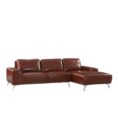 Modern Leather Sectional Upholstery: Light Brown, Orientation: Right Hand Facing