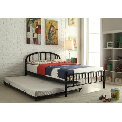 Kinner Metal Full Panel Bed Color: Black