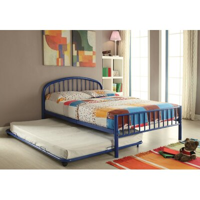 Kinner Metal Full Panel Bed Color: Blue