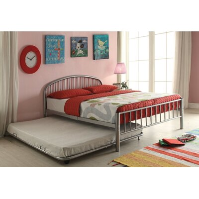 Kinner Metal Full Panel Bed Color: Silver