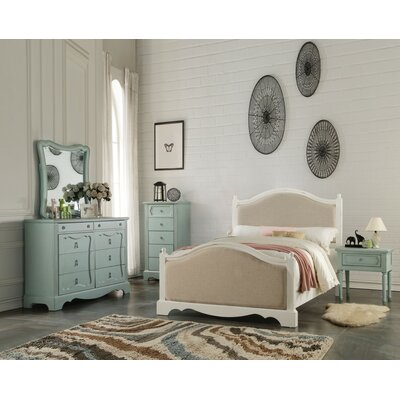 Dove Wooden Full Bed With Padded Headboard & Footboard
