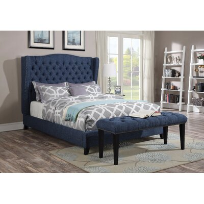 Homerton Queen Upholstered Panel Bed Color: Blue