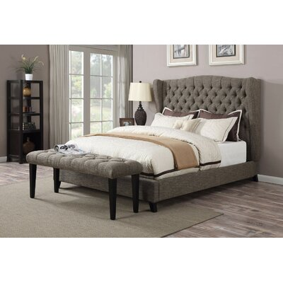 Homerton Queen Upholstered Panel Bed Color: Brown