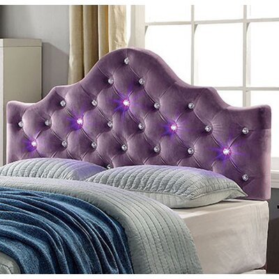 Upholstered Panel Headboard with Led Lighting Size: King, Color: Purple