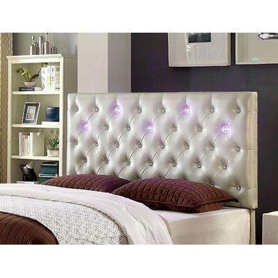 Upholstered Panel Headboard with Led Lighting Size: King, Color: Pearl White