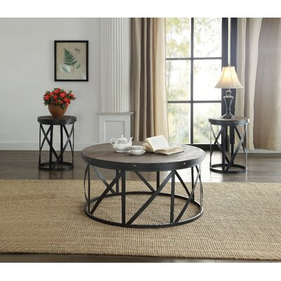 Balboa Metal and Wooden 3 Piece Coffee Table Set