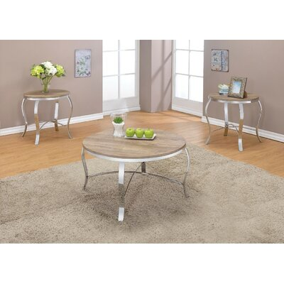 Giron Metal and Wooden 3 Piece Coffee Table Set Top Color: Light brown