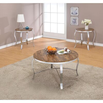 Giron Metal and Wooden 3 Piece Coffee Table Set Top Color: Dark brown