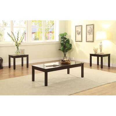 Kinman Wooden 3 Piece Coffee Table Set Color: Espresso