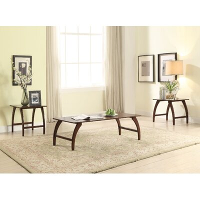 Glaspie Wooden 3 Piece Coffee Table Set